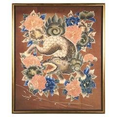 Framed Japanese Textile Art with Resist Yuzen Dye