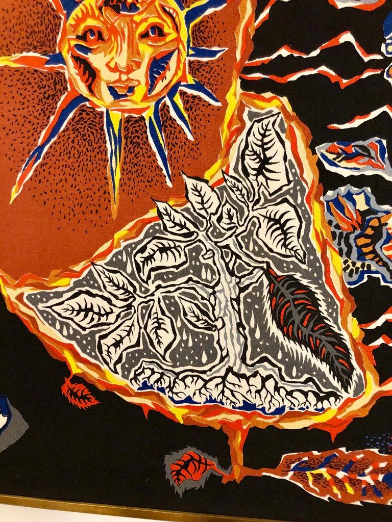 French Framed Jean Lurcat Silkscreen Tapestry For Sale