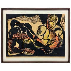 "Framed Joe Elliott Color Woodcut ""the Pathways of the Soul"""