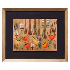 "Framed Judith Daner Enamel on Copper ""Birds"" Plaque"