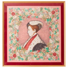 Framed Kenzo Takada Silk Mille-Fleur Painted Scarf