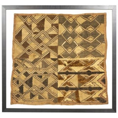 Framed Kuba Cloth #1, African Textile, Tribal, Ethnic Wall Hanging, 20th Century