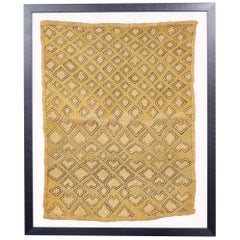 Framed Kuba Cloth #2, African Textile, Tribal, Ethnic Wall Hanging, 20th Century