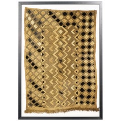 Framed Kuba Cloth #3, African Textile, Tribal, Ethnic Wall Hanging, 20th Century