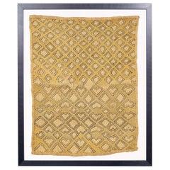 Framed Kuba Cloth, African Textile, Tribal, Ethnic 20th Century Folk Wall Art