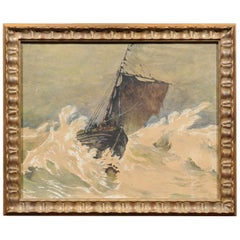 Framed  Watercolor of Sailboat in a Storm, Henry Clay, 1917