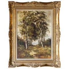 Framed Landscape Oil Painting on Canvas