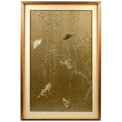 Framed Large Japanese Relief Embroidery Textile