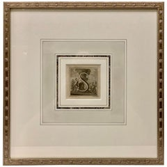 "The Letter ""S"" Framed-Engraved by L. Vanvitelli for King Carlos III, Italy, 1771"
