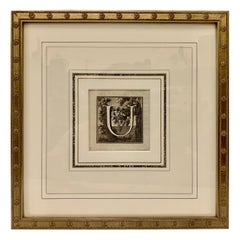 "Framed Engraving of The Letter ""U"" by L. Vanvitell , 1771"