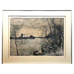 Framed Lithograph View of the Lake with Boats, Signed