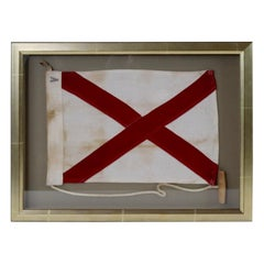 Framed Maritime Signal Flag of Letter V