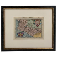 Framed Mercator Hondius Hispania Nova Atlas Minor Map