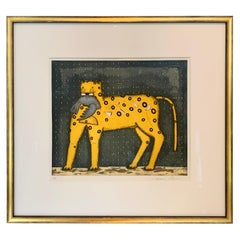 Framed Mexican Lithograph of Yellow Cat and Bird by Mario Romero