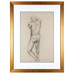 Framed Mid-Century French Nude Charcoal Sketch