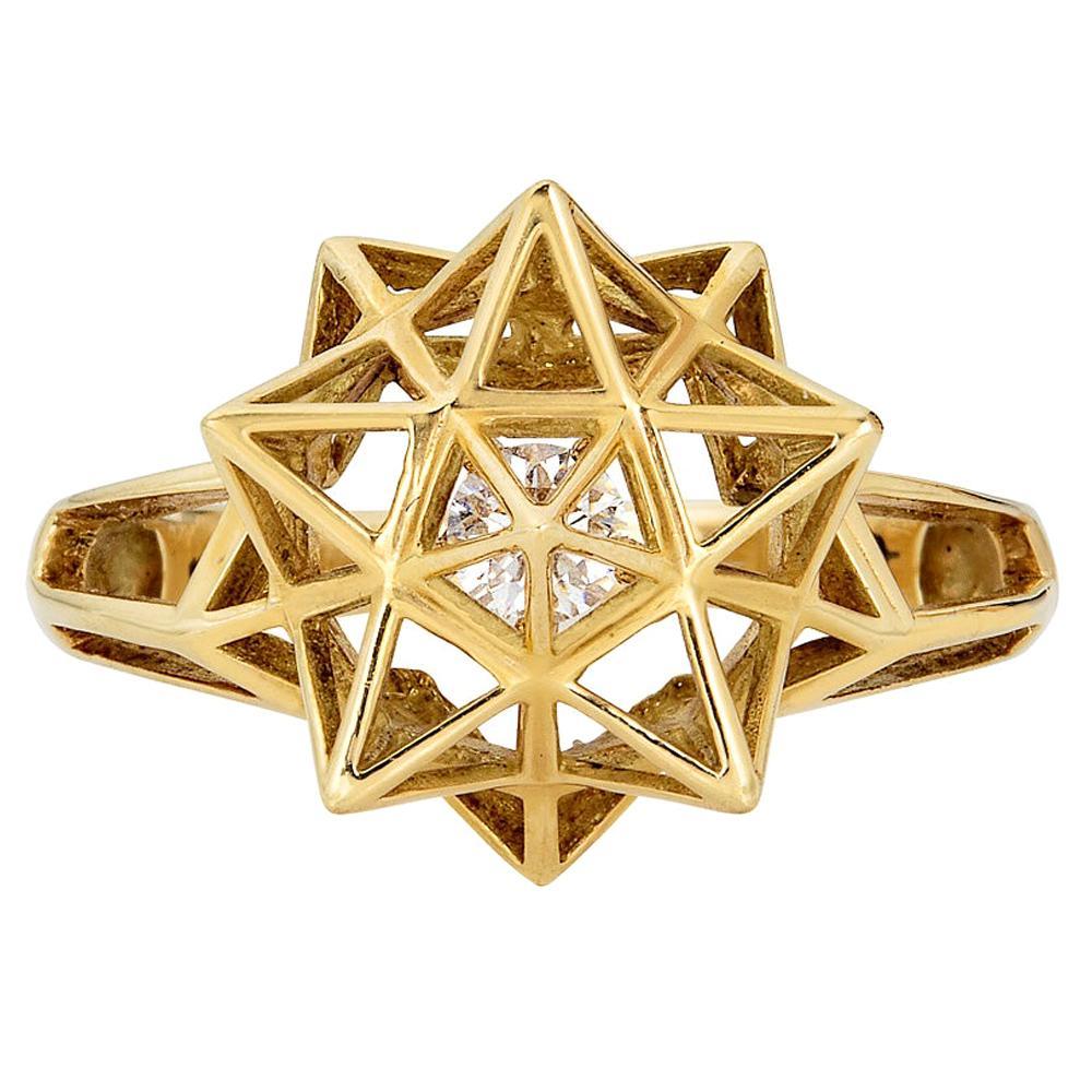 Framed Mini Diamond 18 Karat Gold Ring