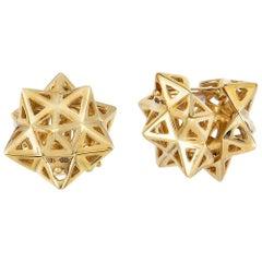 Framed Mini Tetra Gold Earrings