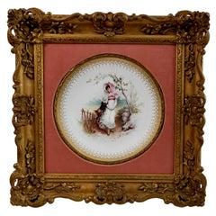 Framed Minton Cabinet Plate, Italianate Gilt, Girl in Fields, A.Boullemier, 1882