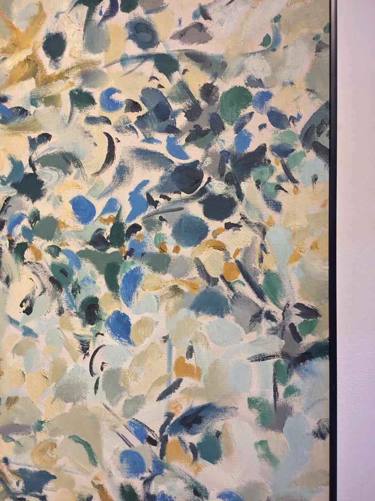 Framed Multicolored Abstract Painting, Signed by Artist In Good Condition For Sale In Stamford, CT