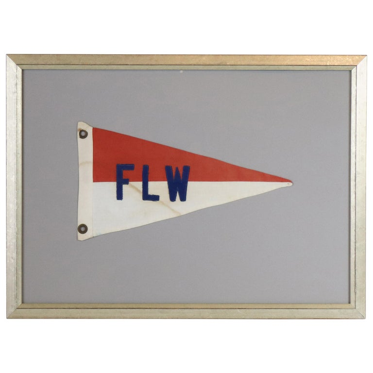 "Framed Nautical Burgee ""FLW"" For Sale"