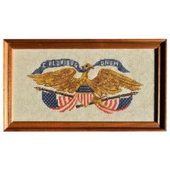 Framed Needlepoint Cross-Stitched American Eagle Signed E Pluribus Unum