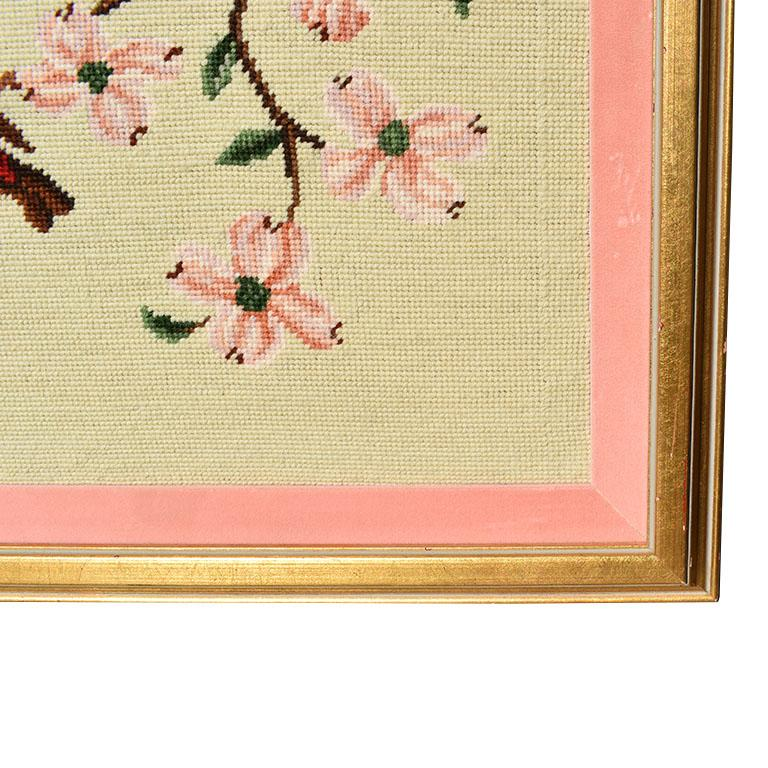 Vintage Birds and Flowers Needlepoint Framed Wall Art
