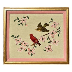 Framed Needlepoint Embroidered Wall Hanging of Pink Birds and Flowers