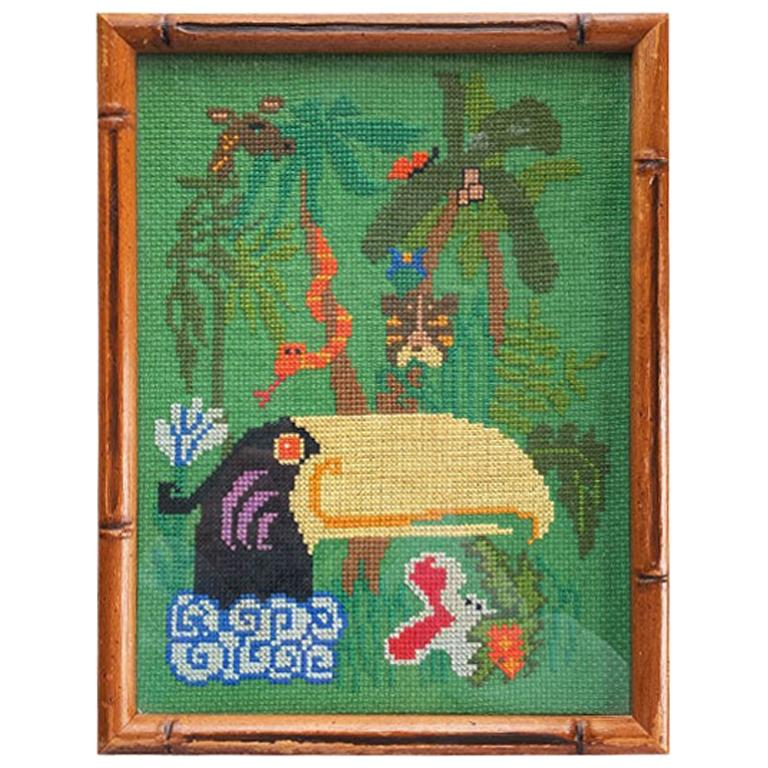 Framed Needlepoint of Jungle and Tucan Bird in Faux Bamboo Frame in Green