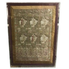 Framed North Indian Rajasthani Hand Stitched Silk Wedding Tapestry Panel