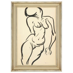 Framed Nude Painting, circa 1959, Black and White