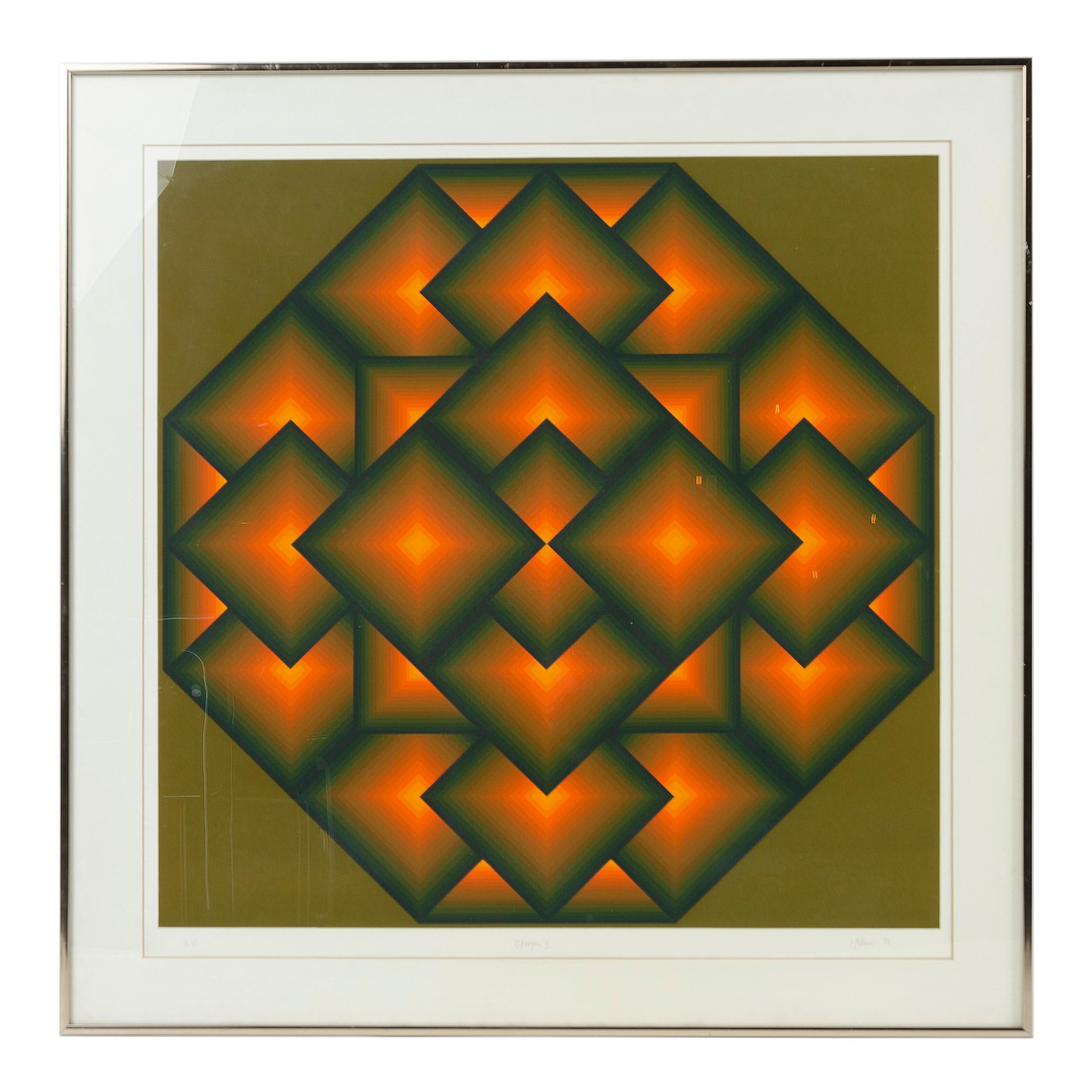 Framed 'Octagon V' Serigraph by Jurgen Peters