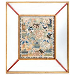 Framed Chinese Antique Embroidery Panel