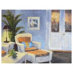 "Framed Oil on Canvas ""Afternoon on the Veranda"" by Laurel Daniel"