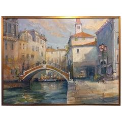 """Framed Oil on Canvas """"Backstreet Venice"""" - Michael Chaplin, 21st Century"""