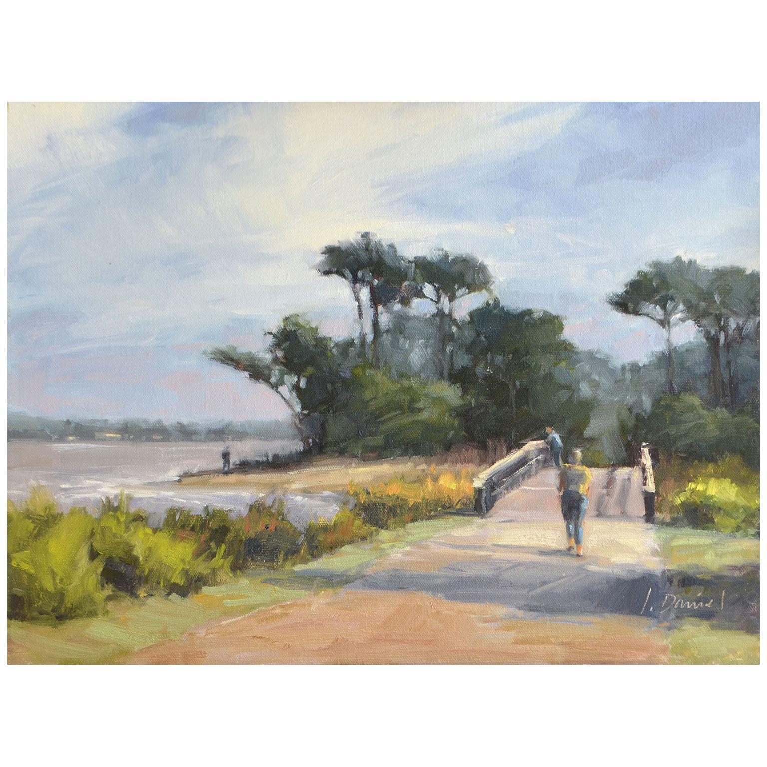 "Framed Oil on Canvas ""Beach Bridge"" Beach Scene by Laurel Daniel"