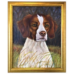 "Framed Oil on Canvas ""Brittany Dog Portrait"", Lawrence Snider, circa 2014"