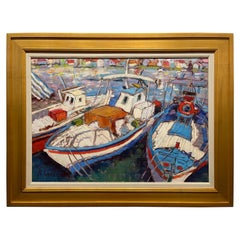 """Framed Oil on Canvas """"Cassis Trio"""" 'Cassis Port in France' by Alice Williams"""