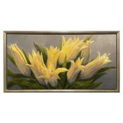 "Framed Oil on Canvas ""Consider the Lilies"" Floral Scene by Laurel Daniel"