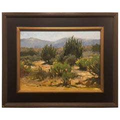 """Framed Oil on Canvas """"Desert Greens"""" New Mexico Desert Scene, Jeff Markowsky"""