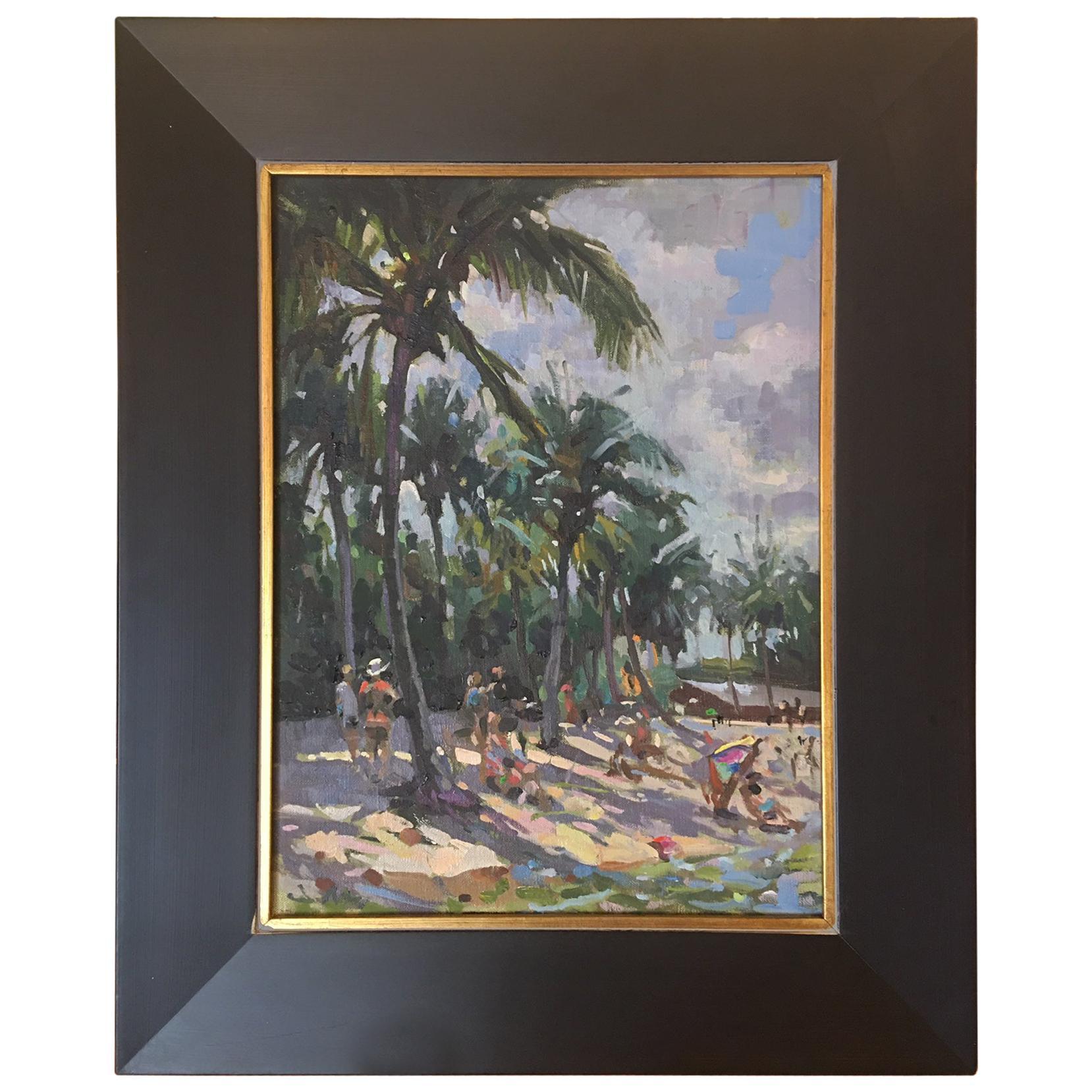 """Framed Oil on Canvas """"Dubois Beach"""" Beach Scene, Jeff Markowsky"""