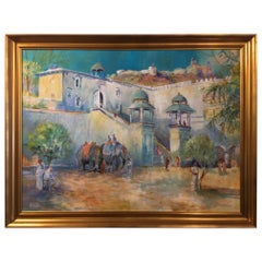 "Framed Oil on Canvas ""Elephants at Jodhpur Fort"", Michael Chaplin"
