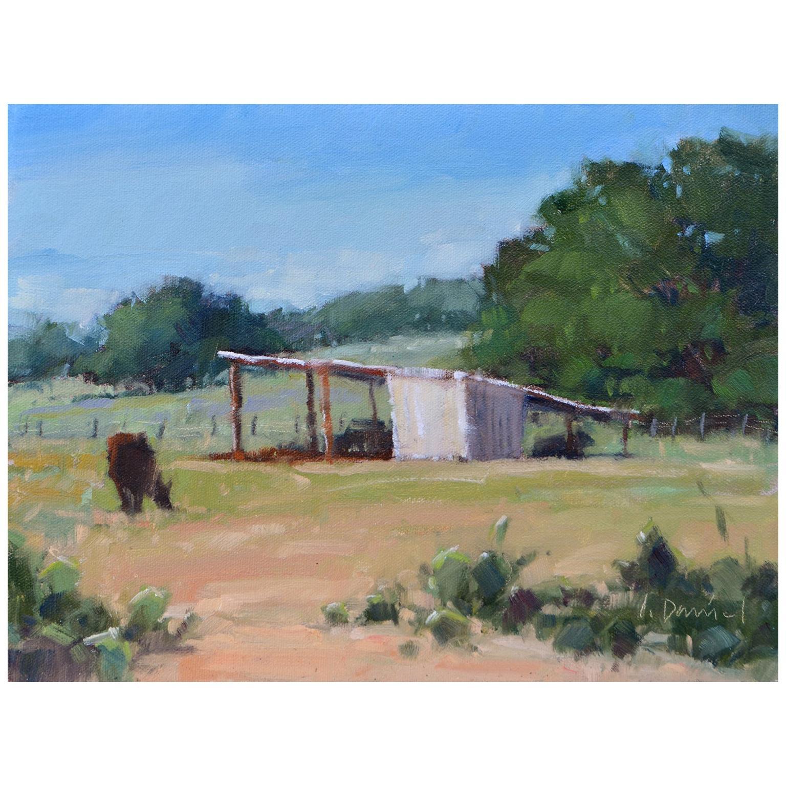 "Framed Oil on Canvas ""Fall Pasture"" Pastoral Scene by Laurel Daniel"