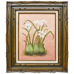 Framed Oil on Canvas Floral Orchid Painting on Pink Background by Elaine Park