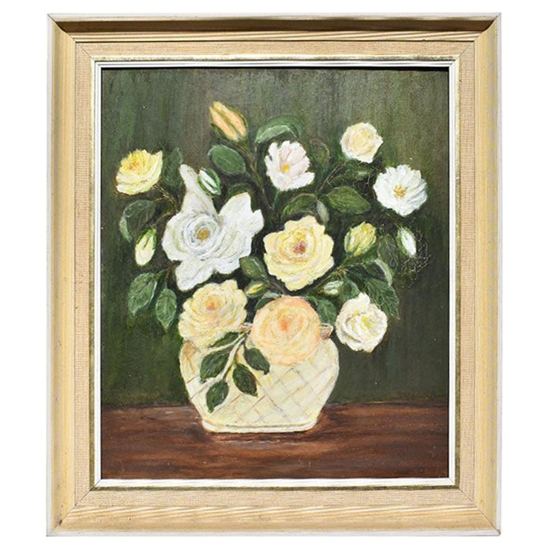 Framed Oil on Canvas Floral Portrait Painting of Roses in Green, White and Pink
