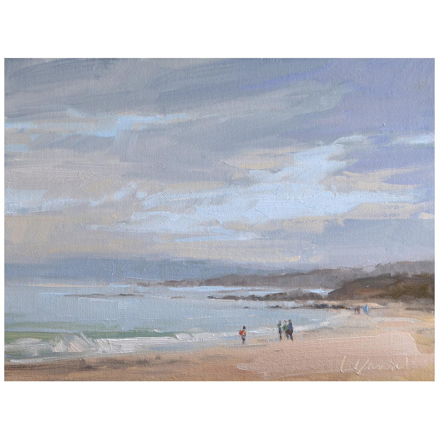 "Framed Oil on Canvas ""Foggy Coastline"" Coast Ocean Scene by Laurel Daniel"