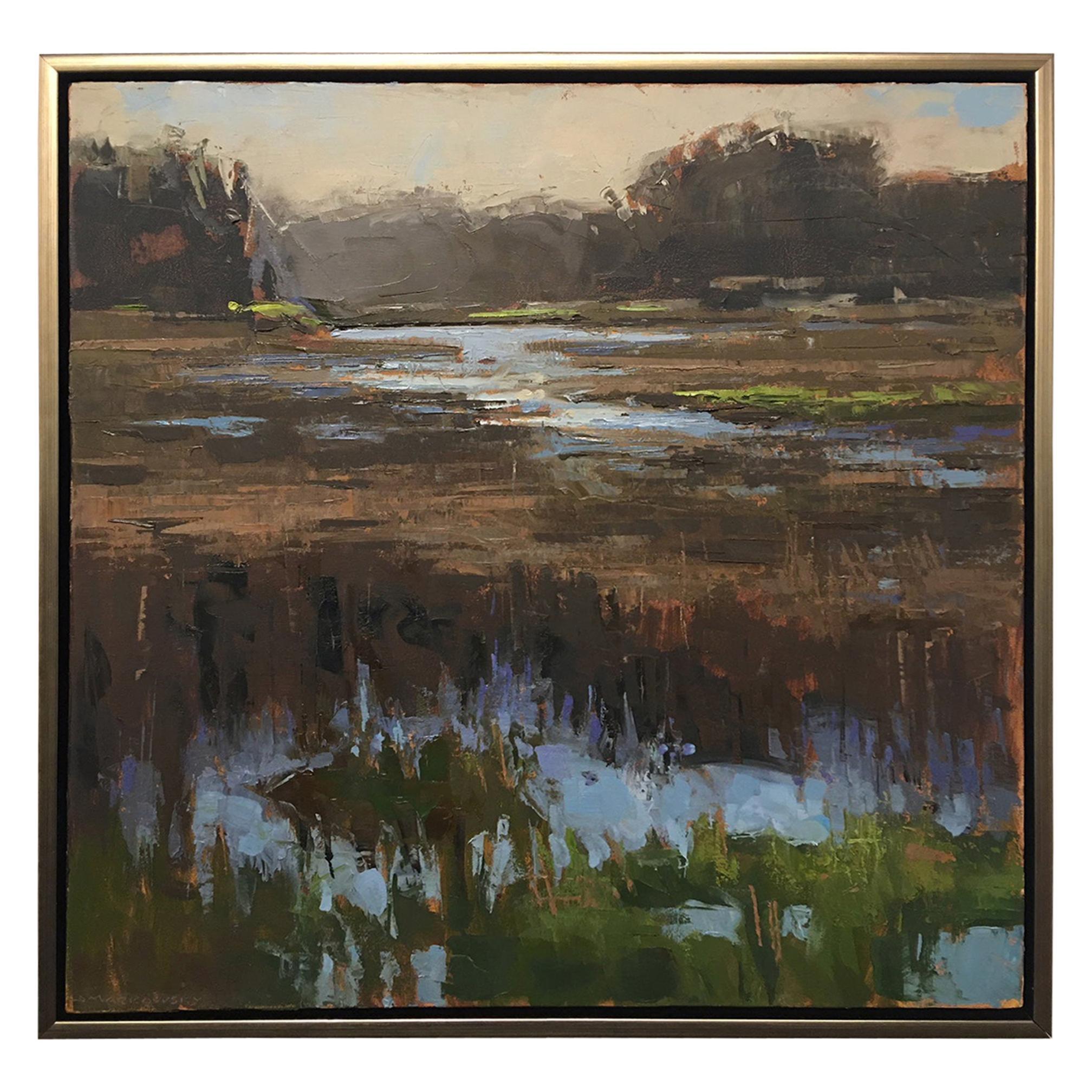 "Framed Oil on Canvas ""Fortitude"" Marsh Scene, Jeff Markowsky"