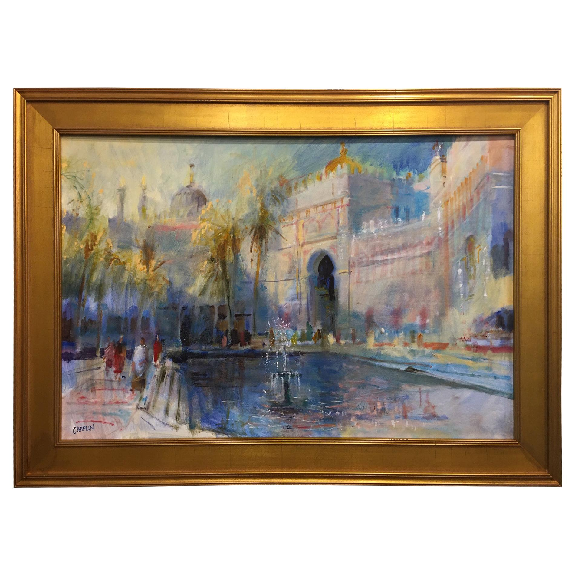 "Framed Oil on Canvas ""Fountain in Morocco"", Michael Chaplin"