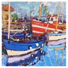 "Framed Oil on Canvas ""Harbor in Honfleur"" 'Honfleur, France' by Alice Williams"
