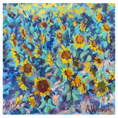 """Framed Oil on Canvas """"Hello Sunshine"""" 'Sunflowers Field' by Alice Williams"""