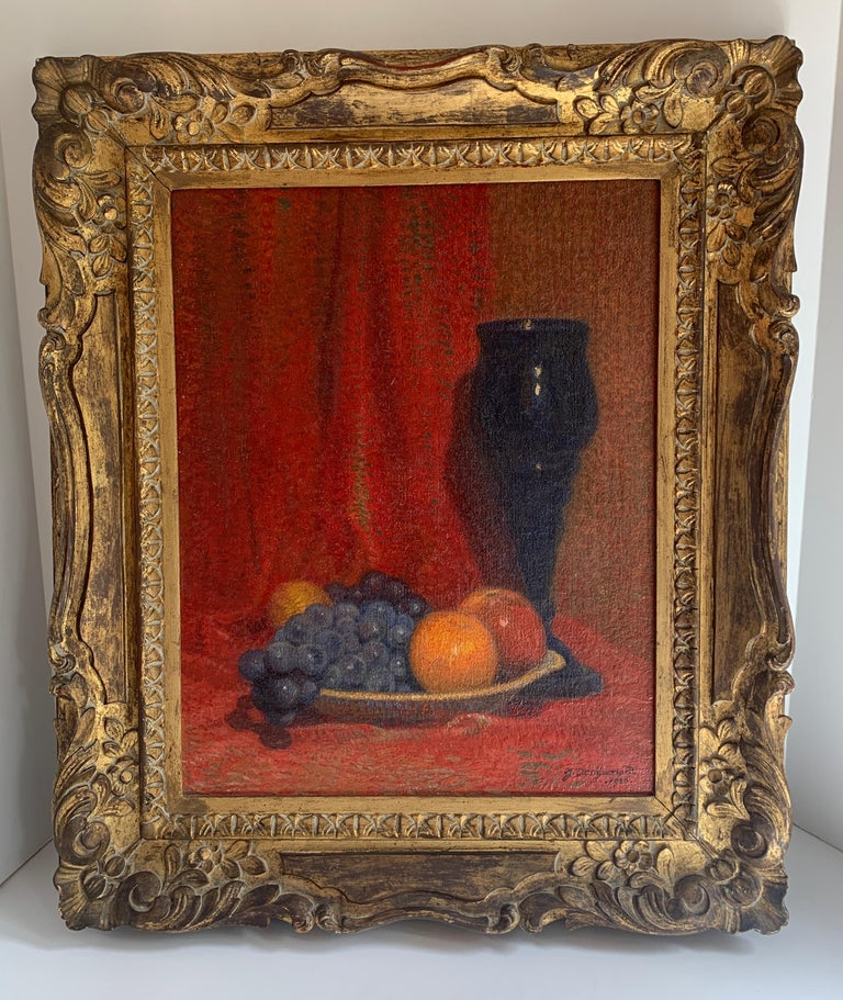 Oil on canvas painting by Dutch Artist Jacob Dooijewaard, dated 1926. A wonderfully composed painting of fruit with an Urn... Honestly a stunning statement piece with an equally wonderful frame.